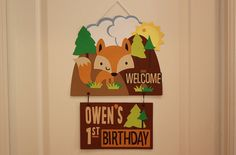 Personalized Woodland Birthday Party Sign – Fox & Camping Theme – Custom Teacher Name Room Sign – Kids Welcome Birthday Party Decoration