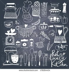 Vintage kitchen set in vector on chalkboard background. Stylish design elements: pepper-box, fork, spoon, bowl, pan, mixer, scales, colander, knife and others