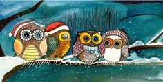 Winter Sale Owls in the snow Art Print gift under 20. $19.99, via Etsy.