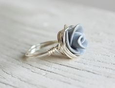 Rose Ring Grey Wire Wrapped - Choose Your Color Polymer Clay Rose Ring Sterling Silver Wire Wrapped. $12.50, via Etsy.