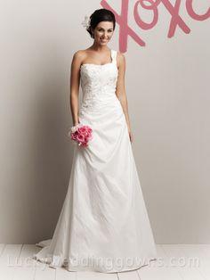 Taffeta One Shoulder Popular Summer Outside Wedding Dress with A-line Skirt