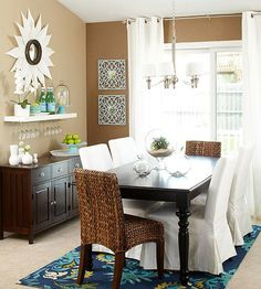 Storing in Style - (floating?) shelves over sideboard where the horse & saddle are now.  Paint to match existing furniture.  Use shelf as contrasting color against wall.  Love the high curtain rods with lighter colored fabrics.