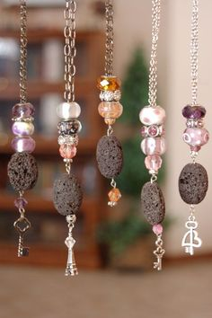Vintage Charm Necklaces with Lava Stone
