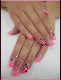 Pink french acrylic manicure|black/dog/paws