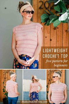 Easy Crochet Top Pattern For Summer – Free Beginner Pattern If you can crochet a rectangle, you can make this easy crochet top pattern! Free pattern that's perfect for beginners. Written in nine sizes, including plus sizes. Bag Crochet, Mode Crochet, Crochet Gratis, Crochet Shirt, Crochet Woman, Crochet Yarn, Crochet Clothes, Crochet Sweaters, Top Pattern