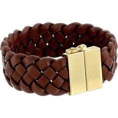 Cole Haan Braided Leather Bracelet ($60) ❤ liked on Polyvore featuring jewelry, bracelets, brown, braid jewelry, brown jewelry, vintage bangle, vintage jewellery and cole haan