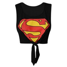 Superman Knot Crop Top ❤ liked on Polyvore