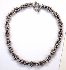 Sterling Silver Taxco Vintage Twisted Beads Rope Chain Necklace