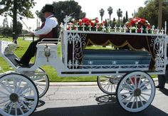 Horse drawn hearses, Riverside, CA