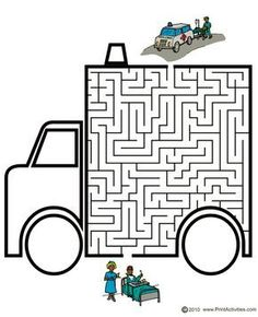 Vehicle Maze of an ambulance. Maze Games For Kids, Craft Activities For Kids, Kindergarten Activities, Mazes For Kids Printable, Maze Worksheet, People Who Help Us, Maze Puzzles, English Worksheets For Kids, Transportation Theme