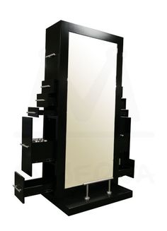 Name: Genesis Double Sided Styling Station Manufacturer: Minerva Beauty Inc. Detail: designed for two stylist, double sided mirrors and concealed drawers