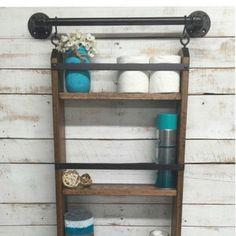 Bathroom Ladder Shelf Rustic Bathroom Shelf Industrial Shelf Farmhouse... ($140) ❤ liked on Polyvore featuring home, home improvement, storage & organization, bathroom, bathroom décor, home & living and red