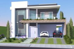 Home Design Meters 3 Bedrooms - Home Design with Plansearch Minimalist House Design, Minimalist Home, Modern House Design, Exterior Design, Interior And Exterior, Modern House Plans, Facade House, House Front, Home Projects