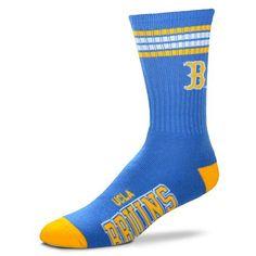 UCLA BRUINS 4-STRIPE DEUCE TEAM COLOR PERFORMANCE CREW LONG SOCKS - Large
