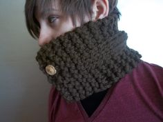 Cowl scarf crocheted brown neck scarf neck warmer with attached vintage buttons, brown with tan vintage buttons