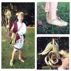 Diy Hermes costume: altered goddess costume from goodwill. Metallic gold spray paint for shoes messenger bag and staff. Plastic snakes, dowel rod, christmas ornaments (feathers, wings), and a marble. Lots of hot glue ;) and a smidge of sewing.