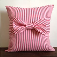 """Valentine's Day Pillow. Pink Pillow Cover with bow, 18"""" x 18"""". Hot Pink Pillow. Striped Bow Pillow. Decorative Pillow Cover"""