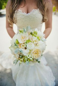 I would add a couple light blue flowers and this would be something I could go for! The dress is gorgeous too!