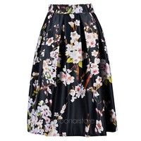 Women High Waist Knee Length Floral Printed Pleated Ball Gown Midi Skirt
