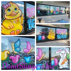 Window Painting Artwork Portfolio Belles and Beaux Easter Windows League City Texas #easter #windows #artwork #windowpainting #windowpainter #windowad #houston  #paintslingers Paintslingers.biz