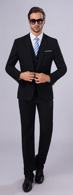 Suits Slim Fit Slim Notch Single Breasted One-button 3 Pieces Black Straight Flapped