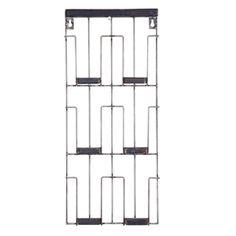Porte-photo mural vertical en métal vieilli noir 6 cases