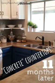 Concrete Countertops  11 Months Later. DIY Ardex Feather Finish Concrete  Over Laminate Countertops.