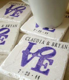 Personalized Purple Love Statue Coasters