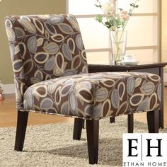 ETHAN HOME Decor Leaves Print Upholstered Lounge Chair | Overstock.com  Have this chair in my living room.
