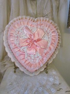 Vintage Pink Heart Valentines Chocolate Candy Box by VannasArmoire