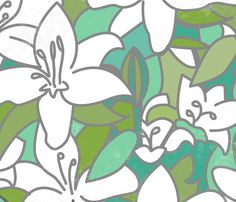 lillies fabric by lusyspoon on Spoonflower - custom fabric - NUMBER 7 of the Lilies Design Contest!!
