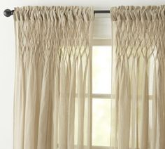 Smocked Drape | Pottery Barn - the new drape (I'm only doing one since it's a small window)