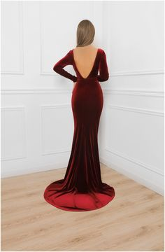 Deep Open Back Burgundy Velvet Bodycon Maxi Dress / With Train Long Sleeves/ Bridesmaid Party Dress Burgundy Bridesmaid Dresses Long, Burgundy Dress, Bridesmaids, Satin Dresses, Dresses With Sleeves, Hijab Evening Dress, Nikkah Dress, Hijab Dress, Dresser