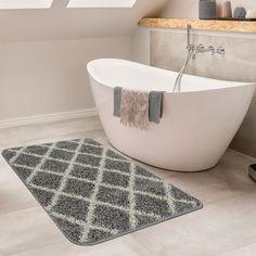 Delicieux Badezimmer Teppich Rauten Design Grau