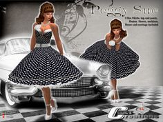 c9cb746277f Second Life Marketplace - GT Creations Back to the Rock and roll Polka dot  dress with petticoat Peggy Sue