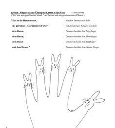 """Die Sprache unterstützt die Fingerbewegung, die Fingerbewegung ergänzt die Sprache. Mit dem kleinen Hasenvers sprechen die Kinder das Übungswort """"Hase"""" ber - zu Dyslalie. Auf madoo.net für deine logopädische Therapie."""