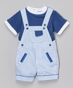 Another great find on #zulily! Blue Tee & Plaid Shortalls - Infant by Nannette Baby #zulilyfinds