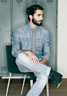 beards, jean, moustach, long hair, denim shirts, double denim, men fashion, devran taskesen, guy hair