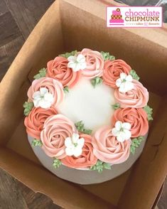 Coral buttercream flower cake