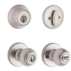 Kwikset Security Polo Satin Nickel Single-Cylinder Deadbolt Keyed Entry Door Knob in the Door Knobs department at Lowes.com