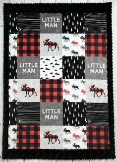 Little Man Plaid  Baby Blanket  Designer Minky  Faux Quilt