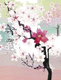LoveLand Sakura Garden watercolor greeting card by Masha D'yans