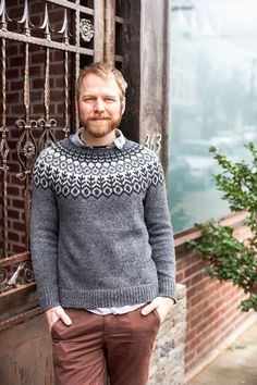 Grettir by Jared Flood, Brooklyn Tweed | sweater, colorwork knitting, colourwork knitting, knitting for men, men's knitwear, knitwear, fashion, knitting patterns, homemade wardrobe, handmade wardrobe, wool, yarn, cable knitting