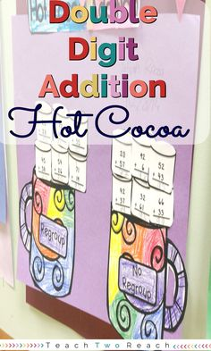 Practice double digit addition with and without regrouping with this cute hot cocoa and marshmallow craftivity - Freebie Included