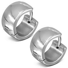 Plain Stainless Steel Men's Huggie Hoop Earrings 7mm www.urban-male.com men's jewellery #mensfashion #mensjewellery