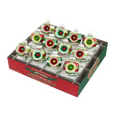 Holiday Splendor Decorated Rounds with Reflectors Ornament Set