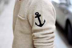 cream knit navy anchor  fashionista.tumblr