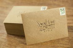Calligraphy on Kraft Paper Envelope