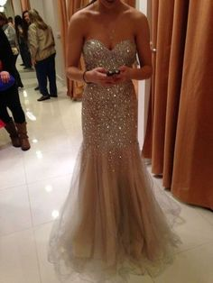 2017 Custom Made Gold Tulle Prom Dress,Sweetheart Evening Dress,Beading Party Gown,Floor Length Pegeant Dress,High Quality