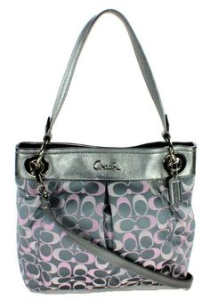 Coach Ashley 3 Color Signature Hippie Shoulder Crossbody Bag, Style 18453 Grey Pink $238.00